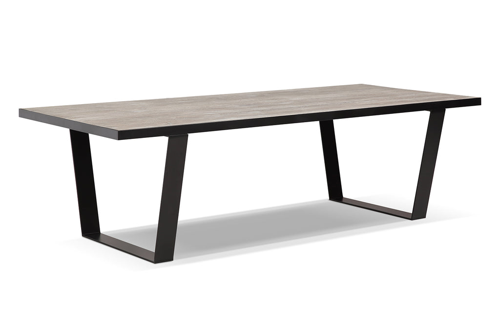 U Shaped Metal And Wood Dining Table   DT01