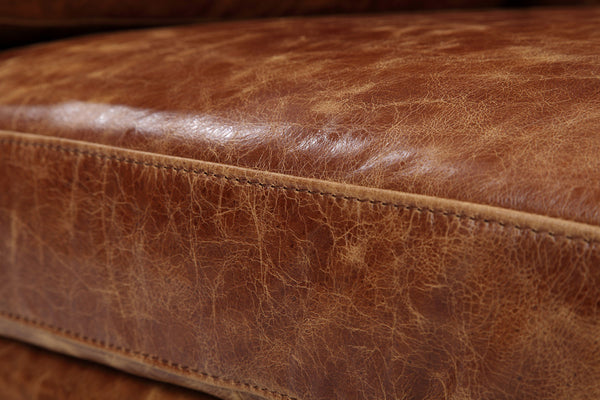Distressed tan brown leather