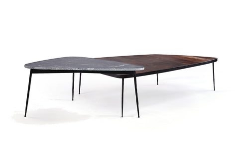 Scandinavian Marble & Leather Coffee Table Duo