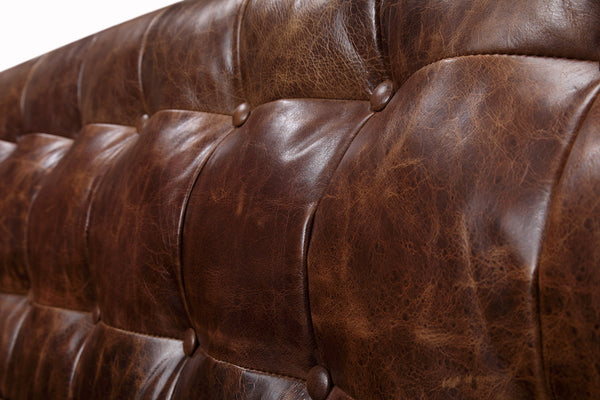 Brighton Vintage English Leather Sofa tufted backrest