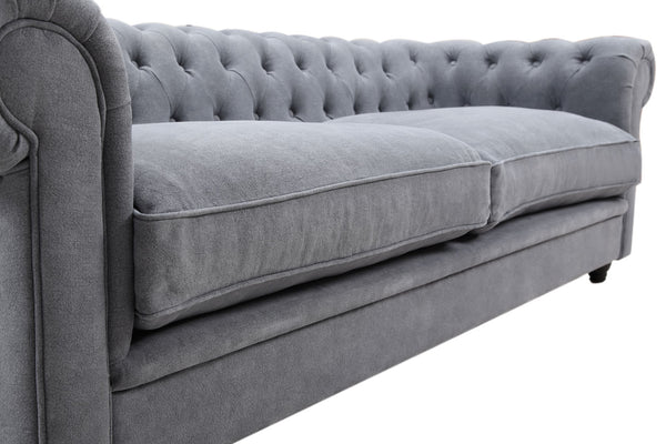 Seat Cushion of the Gray Linen Chesterfield Tufted Sofa