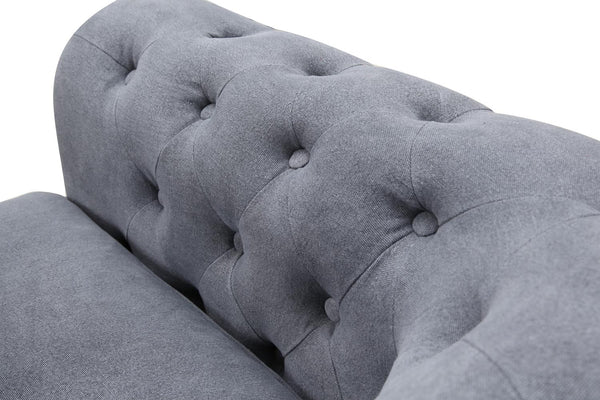 Armrest of the Gray Linen Chesterfield Tufted Sofa
