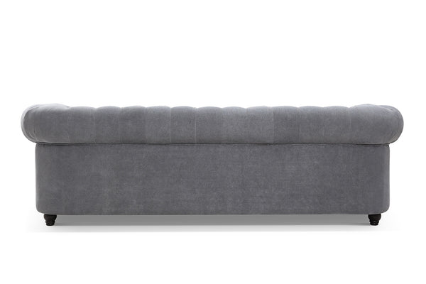 Back of the Gray Linen Chesterfield Tufted Sofa