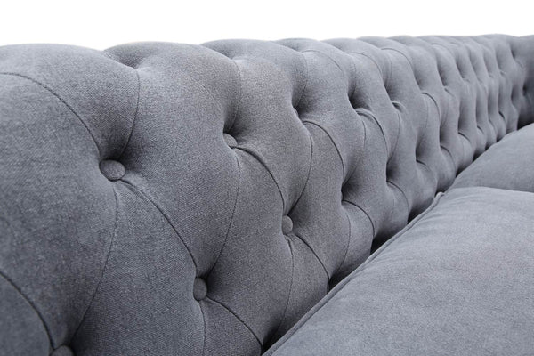Backrest of the Gray Linen Chesterfield Tufted Sofa