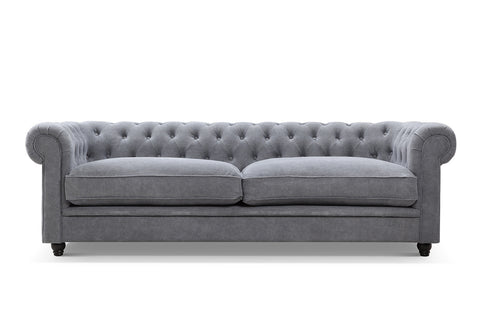 Gray Linen Chesterfield Tufted Sofa
