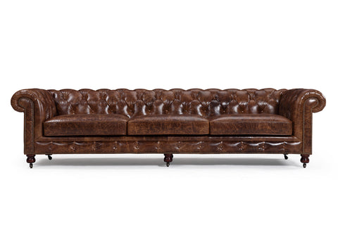 The Kensington Large Chesterfield Sofa in vintage leather