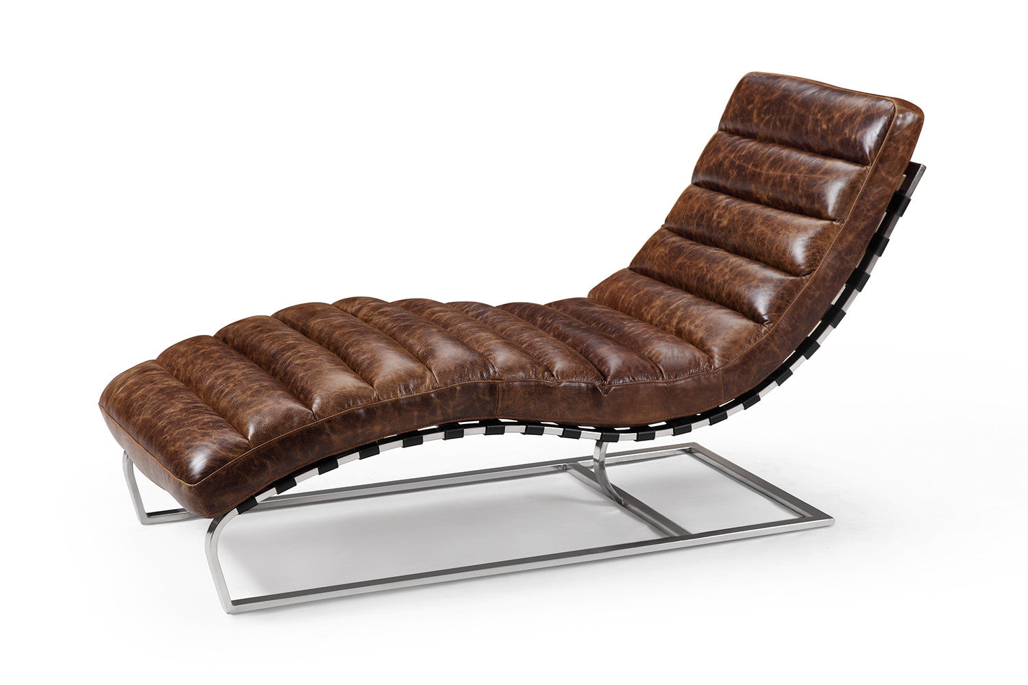 The leather chaise lounge rose and moore for Chaise longue salon