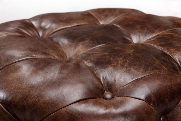 Medium Leather Chesterfield Footstool