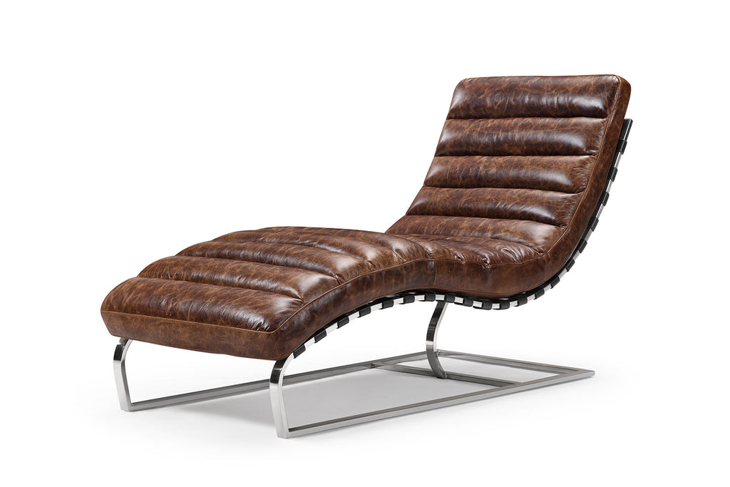 The leather chaise lounge rose and moore for Maison du monde chaise longue