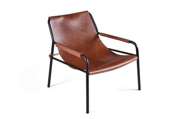 Metal and Leather Sling Chair - CH05