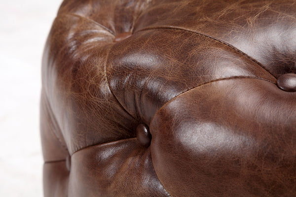 Medium Leather Tufted Footstool