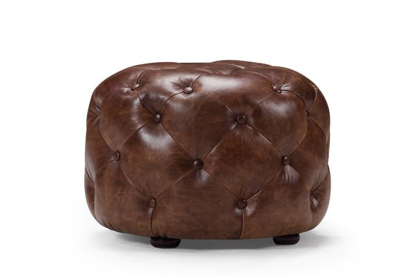 Small Leather Tufted Pouf RM-239