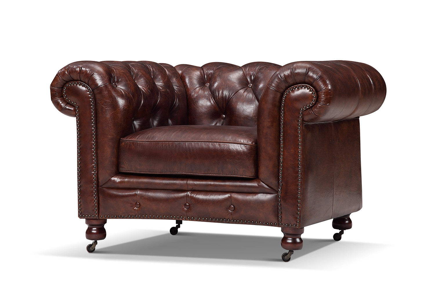 Kensington tufted armchair in antique burgundy - The Kensington Chesterfield Tufted Chair Rose And Moore