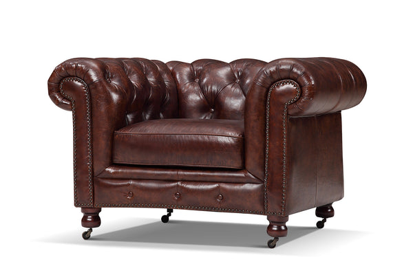 Kensington tufted armchair in antique burgundy