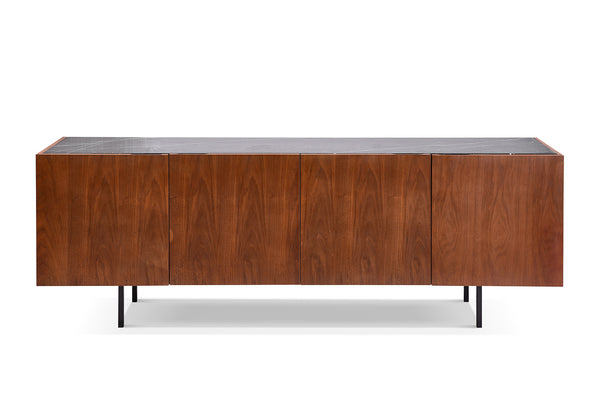 Mid-Century Walnut and Marble Console - CA03