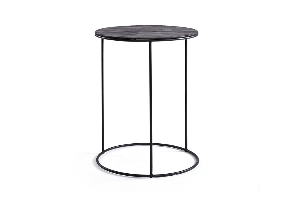 Wood and Metal Black Side Table