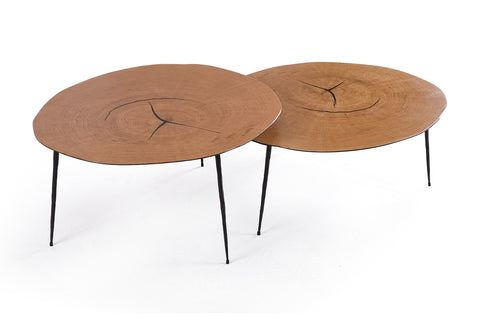 Natural Wood Tripod Coffee Table Duo