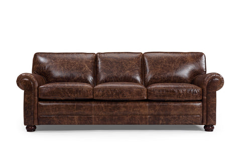 Montrose traditional sofa in vintage brown color