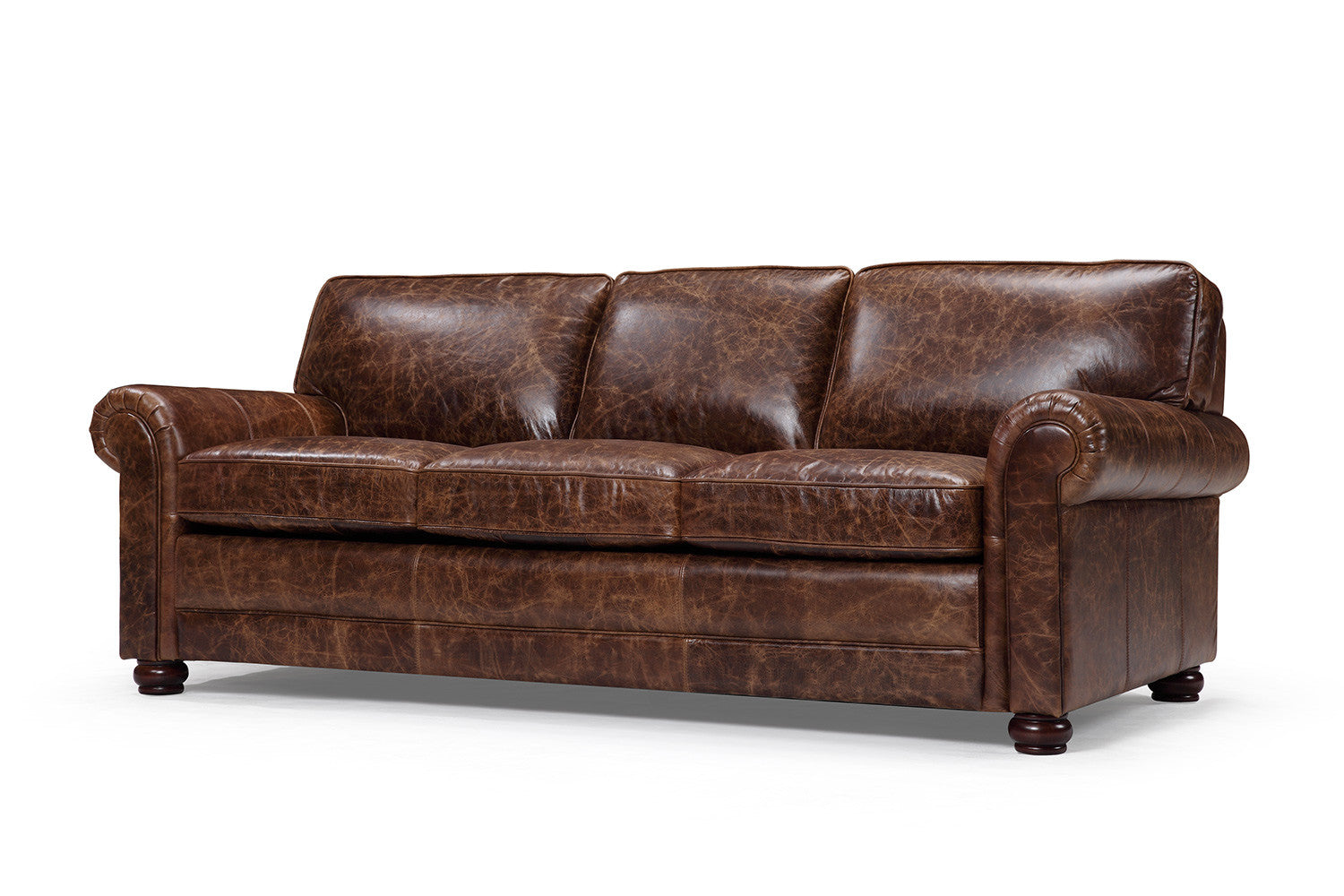 The montrose traditional leather sofa rose and moore for Traditional leather furniture