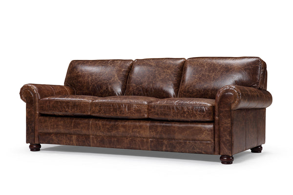Montrose traditional leather sofa
