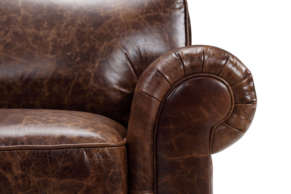 Traditional leather sofa armrest