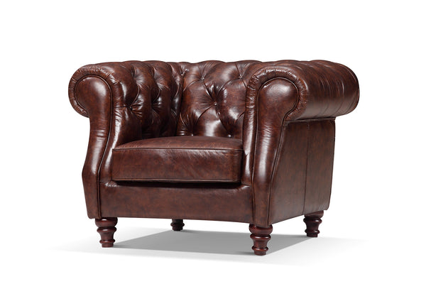 Tufted burgundy brown leather chair