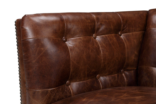Brighton Vintage English Leather Sofa tufted armrest