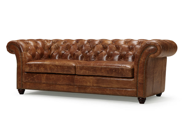 Westminster Tufted Leather Couch