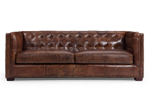 Brighton Vintage English Leather Sofa