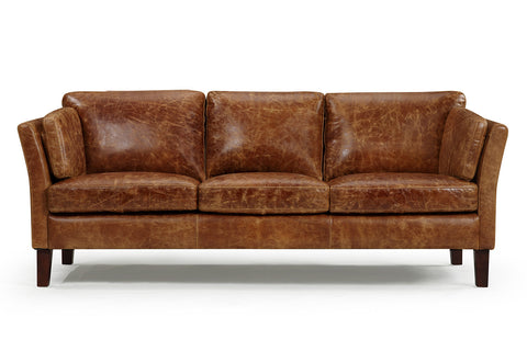 Vintage 1960 Scandinavian Leather Sofa