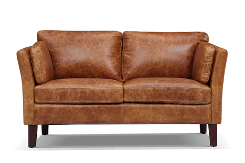 Vintage Scandinavian leather loveseat