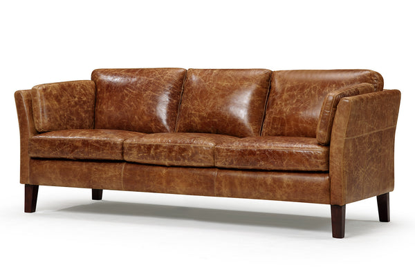 Vintage Scandinavian Style Leather Sofa