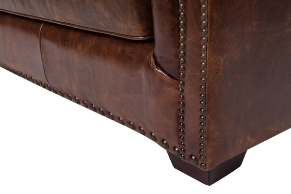 Brighton Vintage English Leather Sofa foot