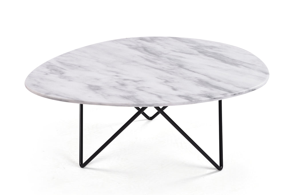 Mid-Century White Marble Coffee Table