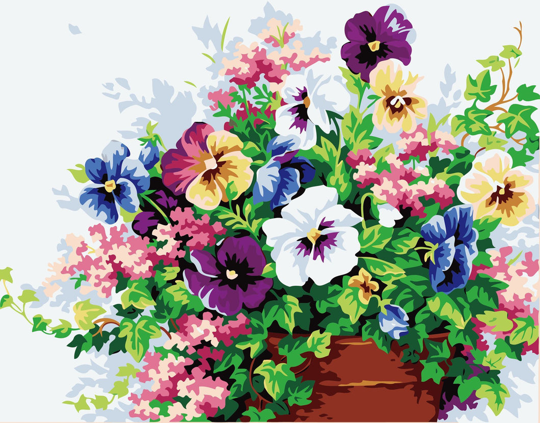 Colorful Flowers Pot Paint by Numbers