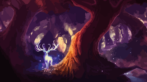 Deer in Fantasy Forest Paint by Numbers