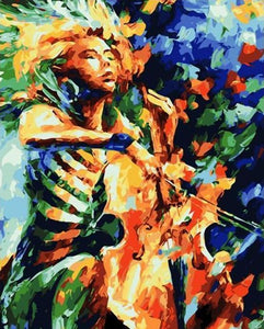 Colorful Violinist Paint by Numbers