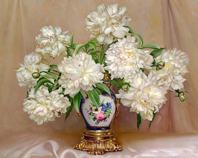 White Peony Paint by Numbers