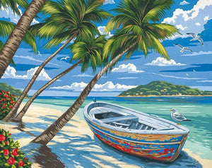 Boat & Palm Trees Paint by Numbers