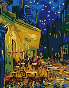 Cafe Terrace at Night Paint by Numbers