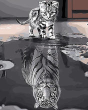 Load image into Gallery viewer, Cat as Tiger Reflection Paint by Numbers
