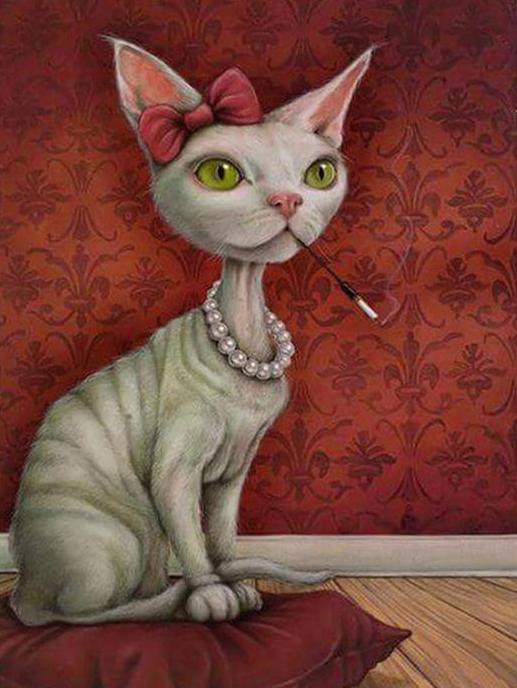 Cat with Necklace Paint by Numbers
