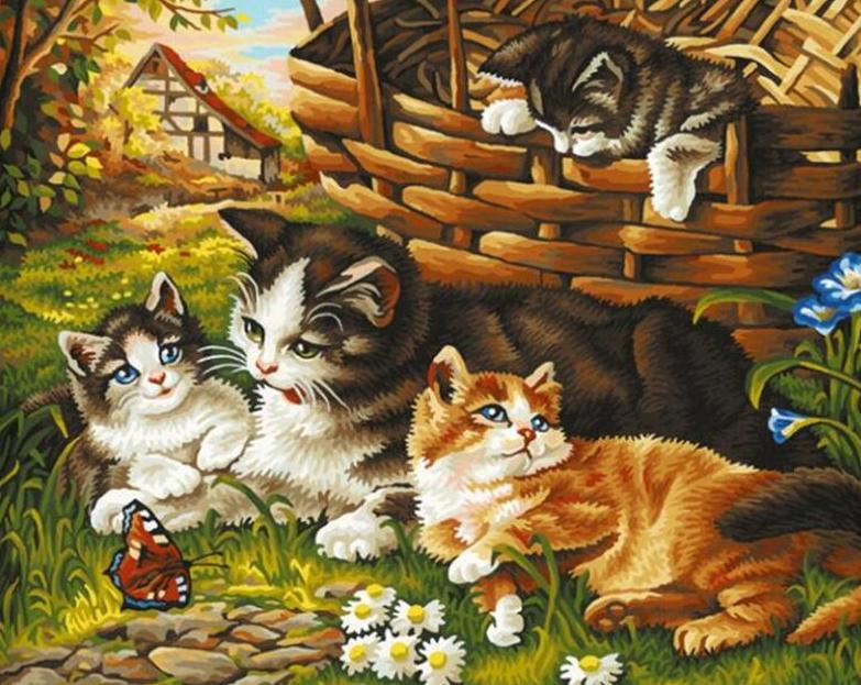 Cats in the Garden Paint by Numbers