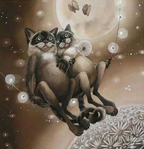 Cats on Fantasy Swing Paint by Numbers