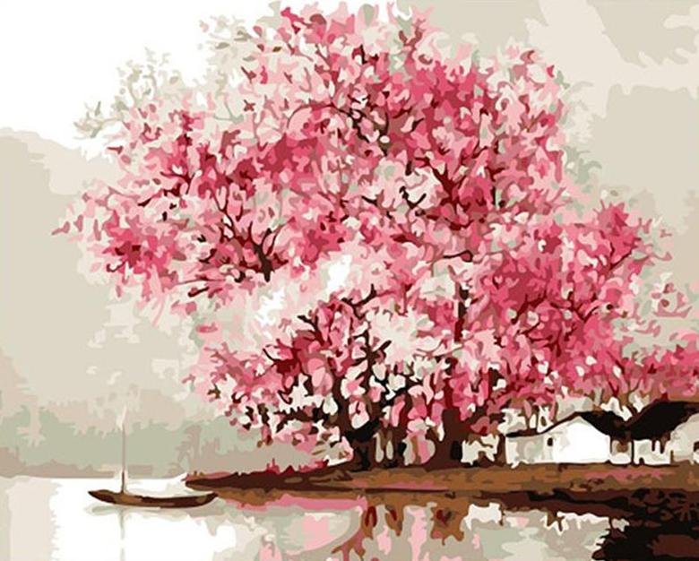 Cherry Blossoms Paint by Numbers