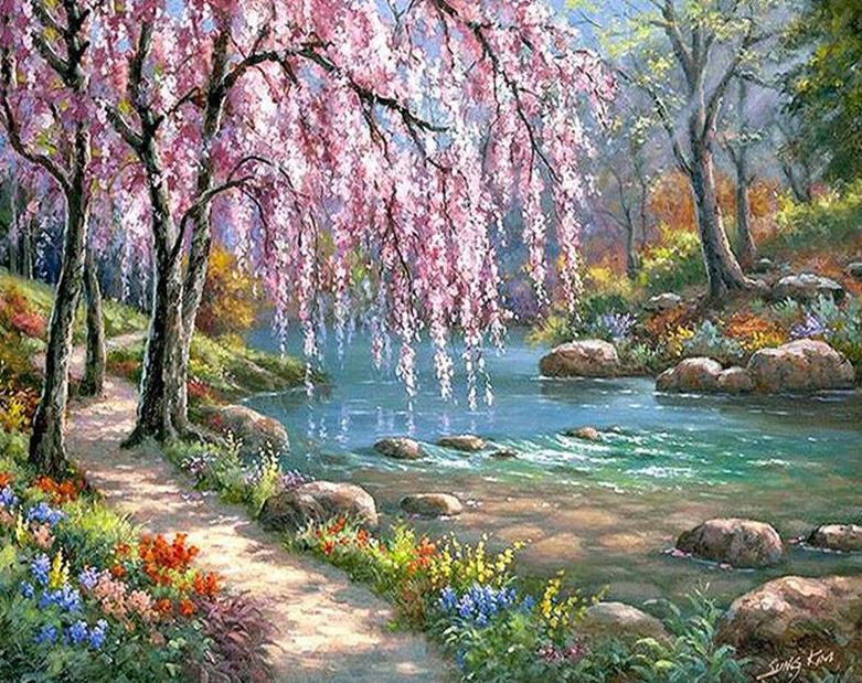 Cherry Blossoms Painting by Numbers