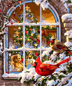 Christmas Birds Paint by Numbers