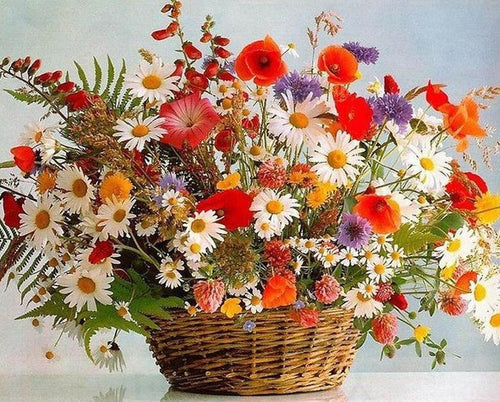 Colorful Flowers Basket Paint by Numbers