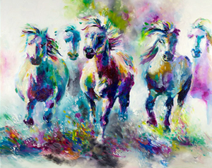 Colorful Horses Paint by Numbers