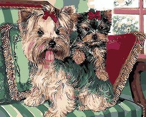 Cute Puppies Painting by Numbers